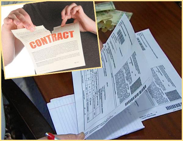 Разрыв договора, квитанции ЖКХ и деньги