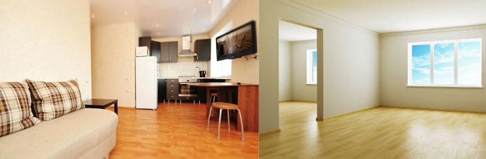Квартира с мебелью и без