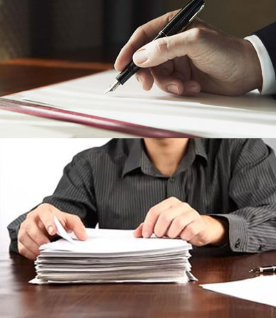 Стопка документов и подписание договора