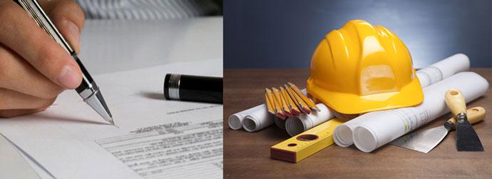 Строительные проект, иструмент и подписание договора