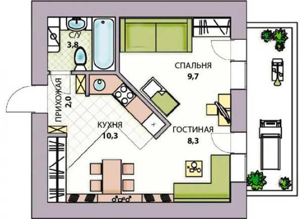 Перепланировка в однокомнатной квартире