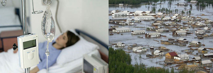 Человек в больнице и наводнение