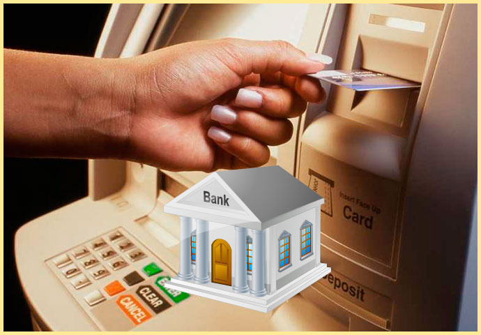 Карта и банкомат, банк