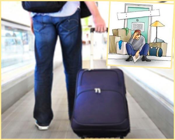 Человек с чемоданом и вещами