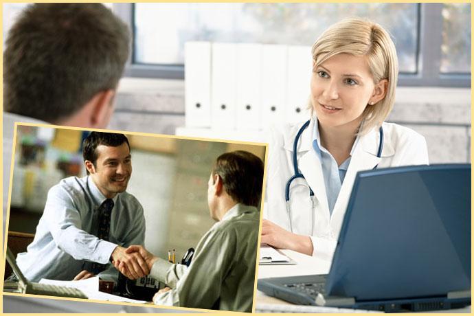 Прием у врача и устройство на работу