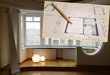 План квартиры, карандаш и перепланировка лоджии