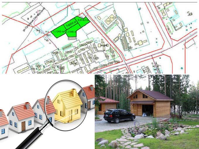 Карта местности, дома и гаражи