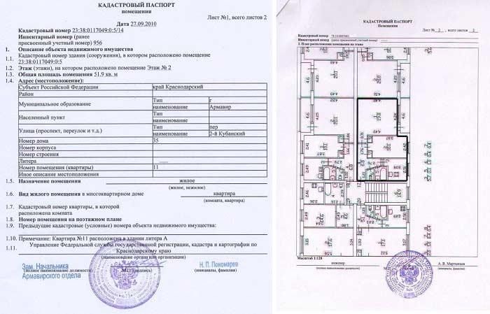 План здания в кадастровом паспорте
