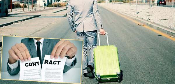 Разры контракта и человек с чемоданом