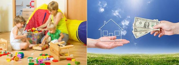 Семья в квартире, передача денег