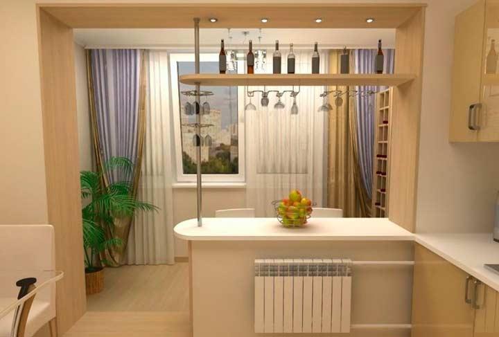 Дизайн кухни-балкона