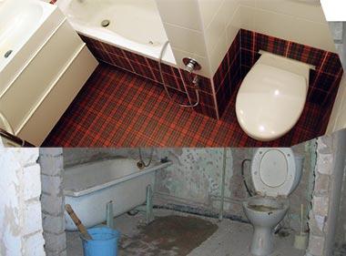 До и после совмещения санузла и ванной