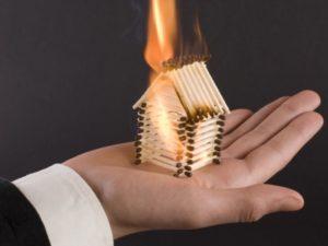 Макет горит