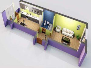 Жилая площадь с двумя комнатами